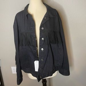 Express Jackets & Coats - Express Distressed Wash Fringe Jacket NWT Sz XL